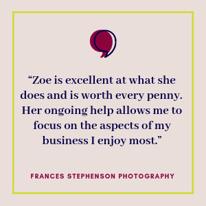 Testimonial from Frances Stephenson Photography